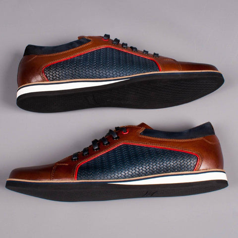 Lacuzzo Tan/Navy leather Sneaker - Leonard Silver