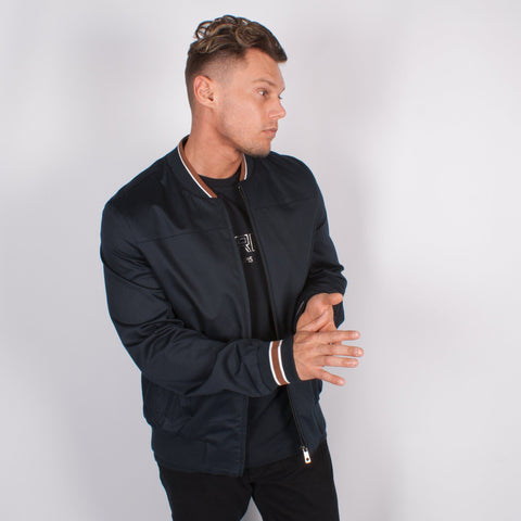 Navy Cotton Bomber Jacket - Leonard Silver