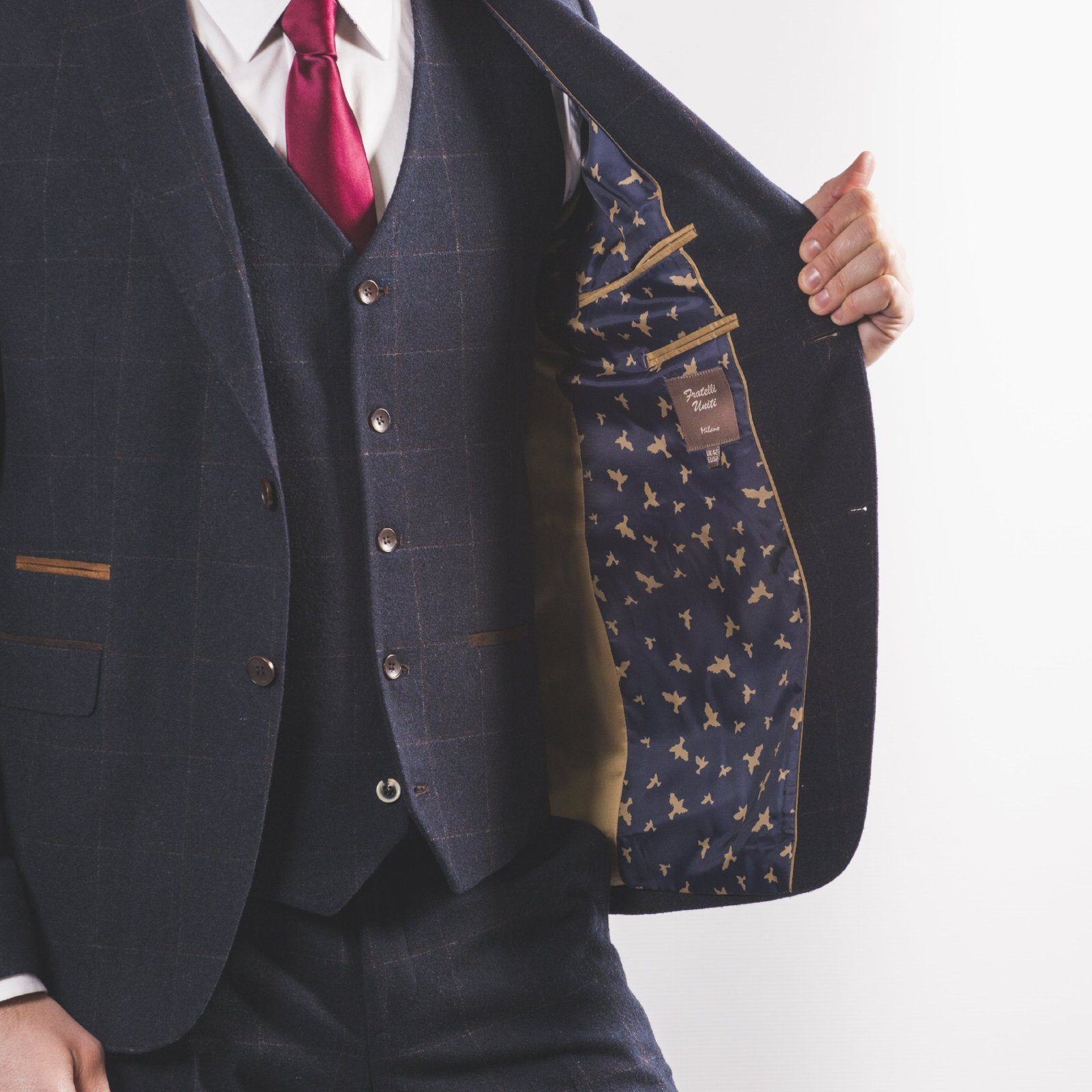 Navy Wool Mix Windowpane Suit - Leonard Silver