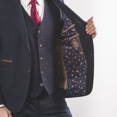 Navy Wool Mix Windowpane Suit
