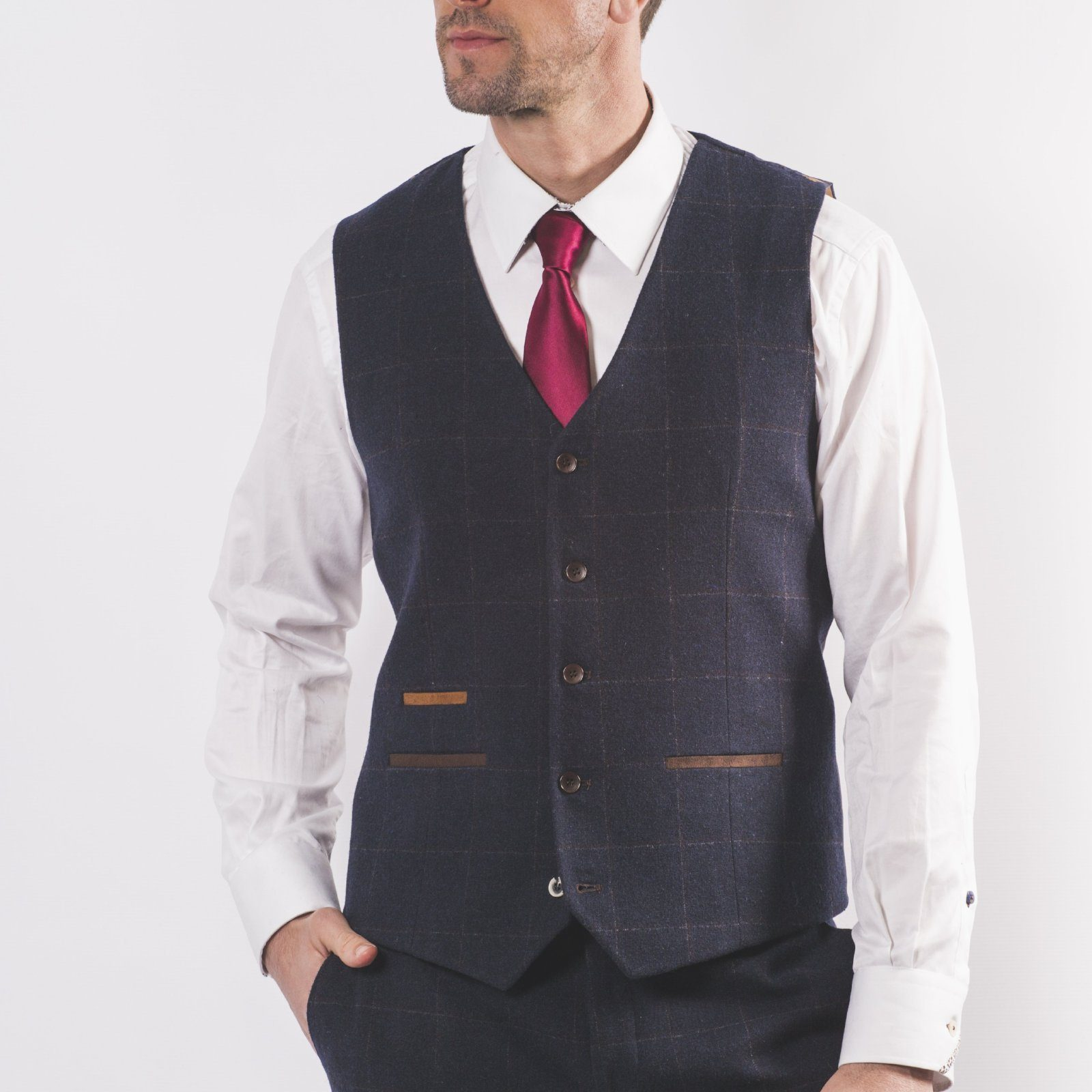 Navy Wool Mix Windowpane Waistcoat - Leonard Silver