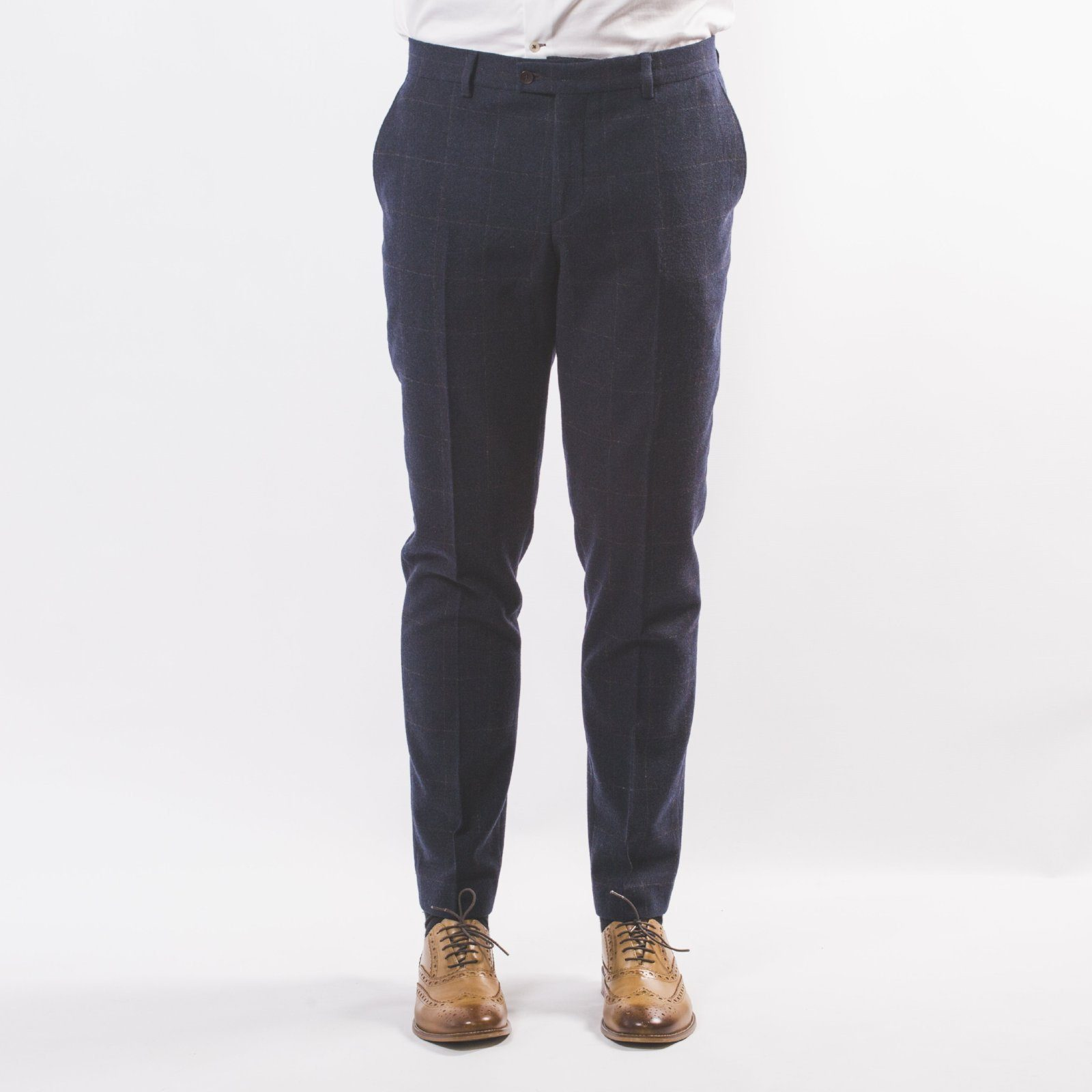 Navy Wool Mix Windowpane Trouser - Leonard Silver