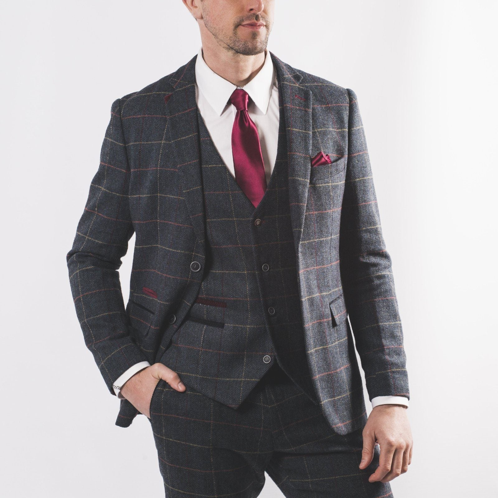 Harold Blue Tweed Suit - Leonard Silver