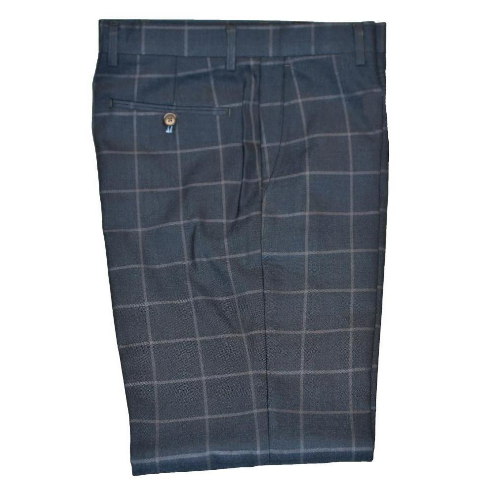 Navy Windowpane Check Trouser - Leonard Silver
