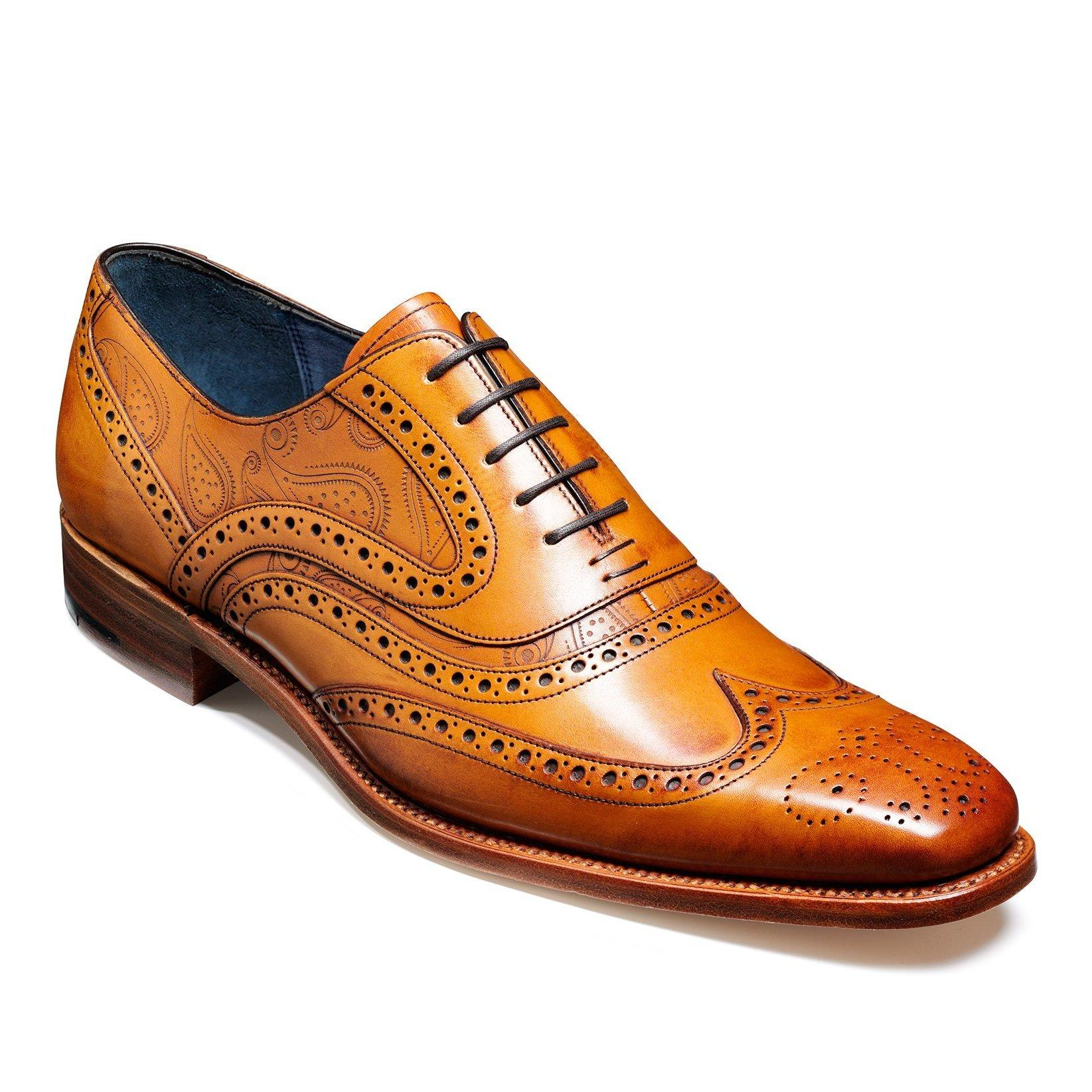 Mens Barker Shoes, McClean Brogue, Cedar Calf, Paisley Pattern