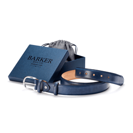 Blue Hand Painted Belt - Leonard Silver