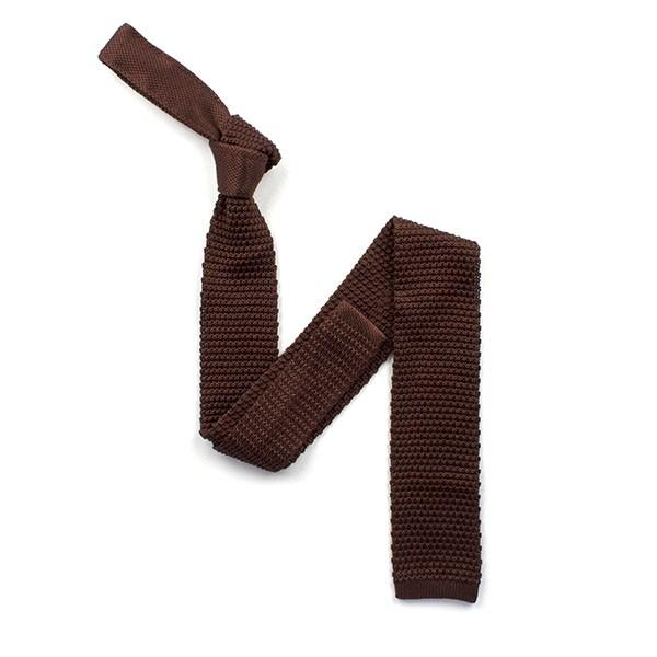 Plain Brown Knitted Silk Tie - Leonard Silver
