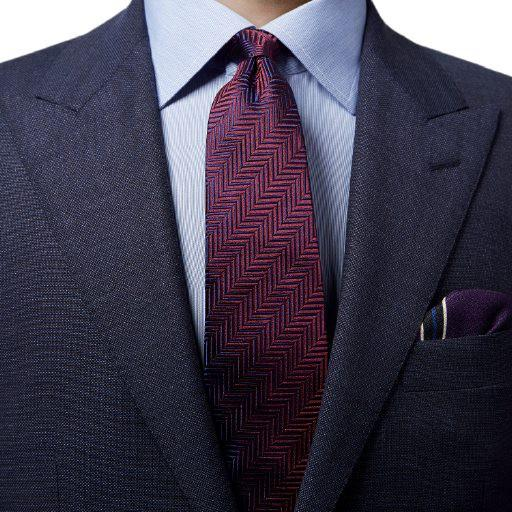 Purple Herringbone Design Tie - Leonard Silver