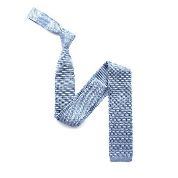 Knitted Silk Neck Tie (Sky Blue) - Leonard Silver