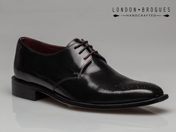 London Brogues Earl Derby Leather Polished Black