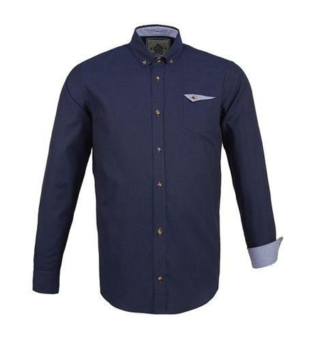 NAVY - Soft oxford cotton shirt with button down collar