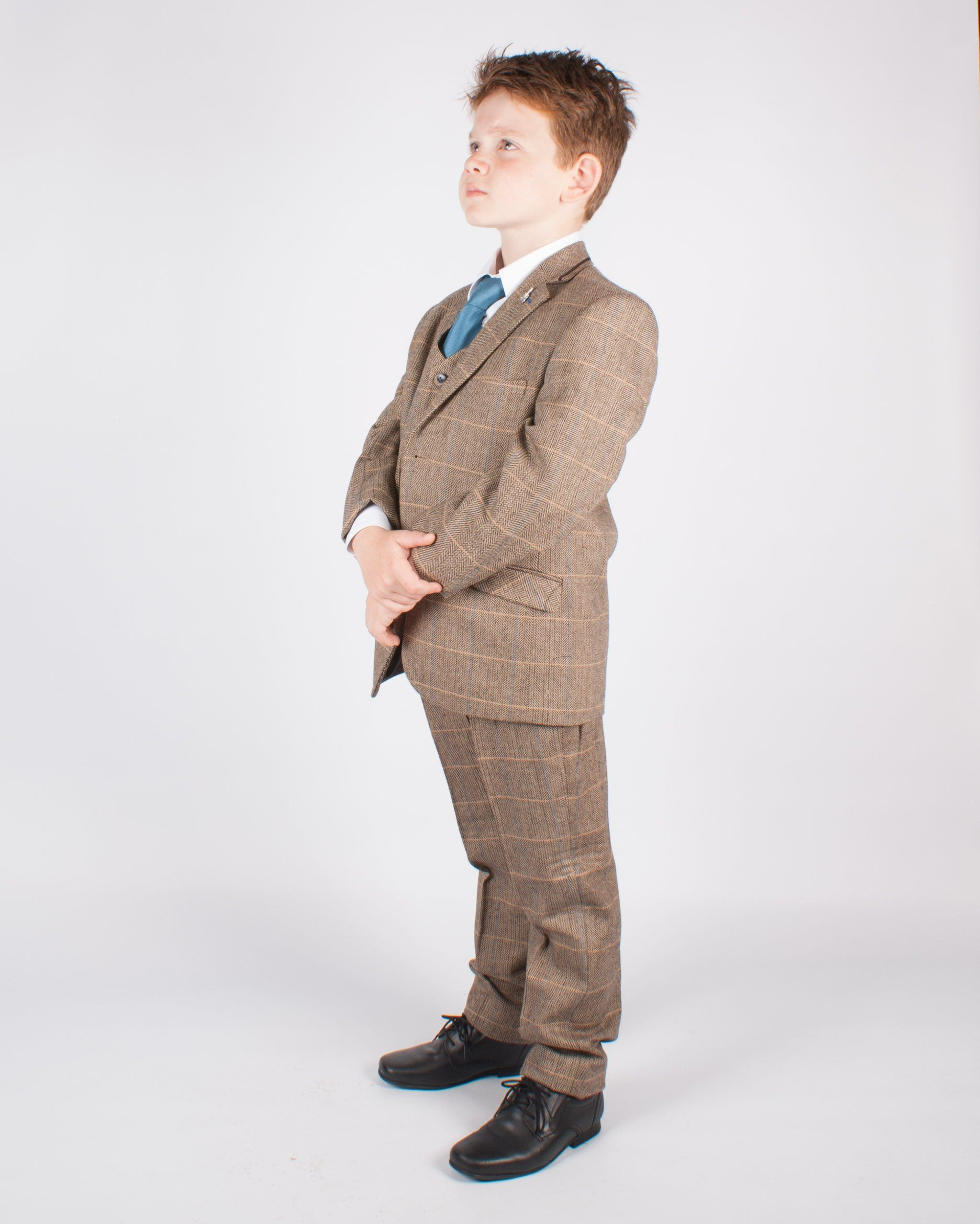 Boy's Brown Tweed Suit - Leonard Silver