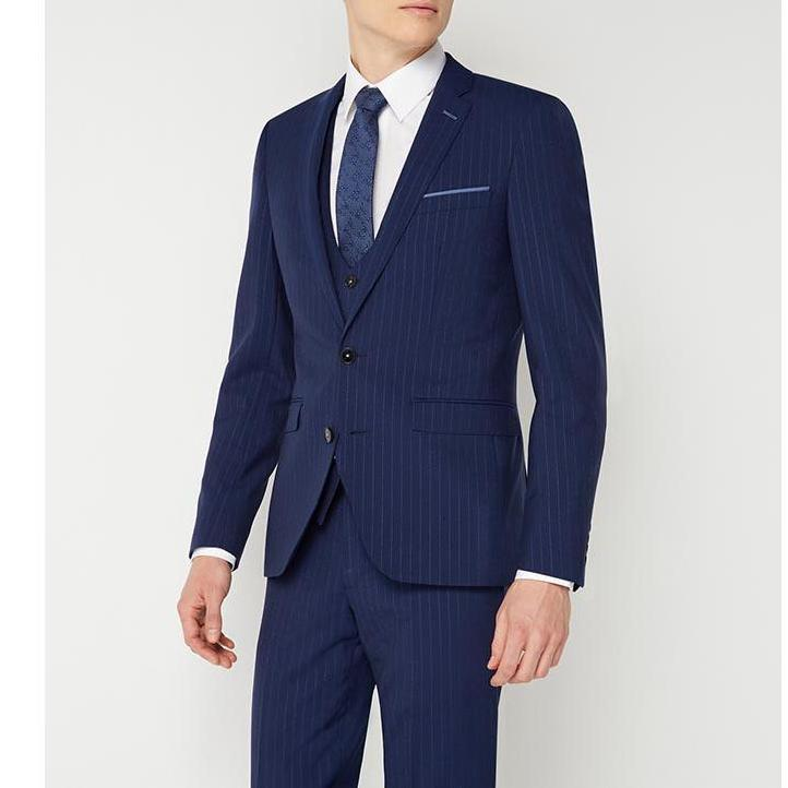 Blue Pinstripe Wool Suit