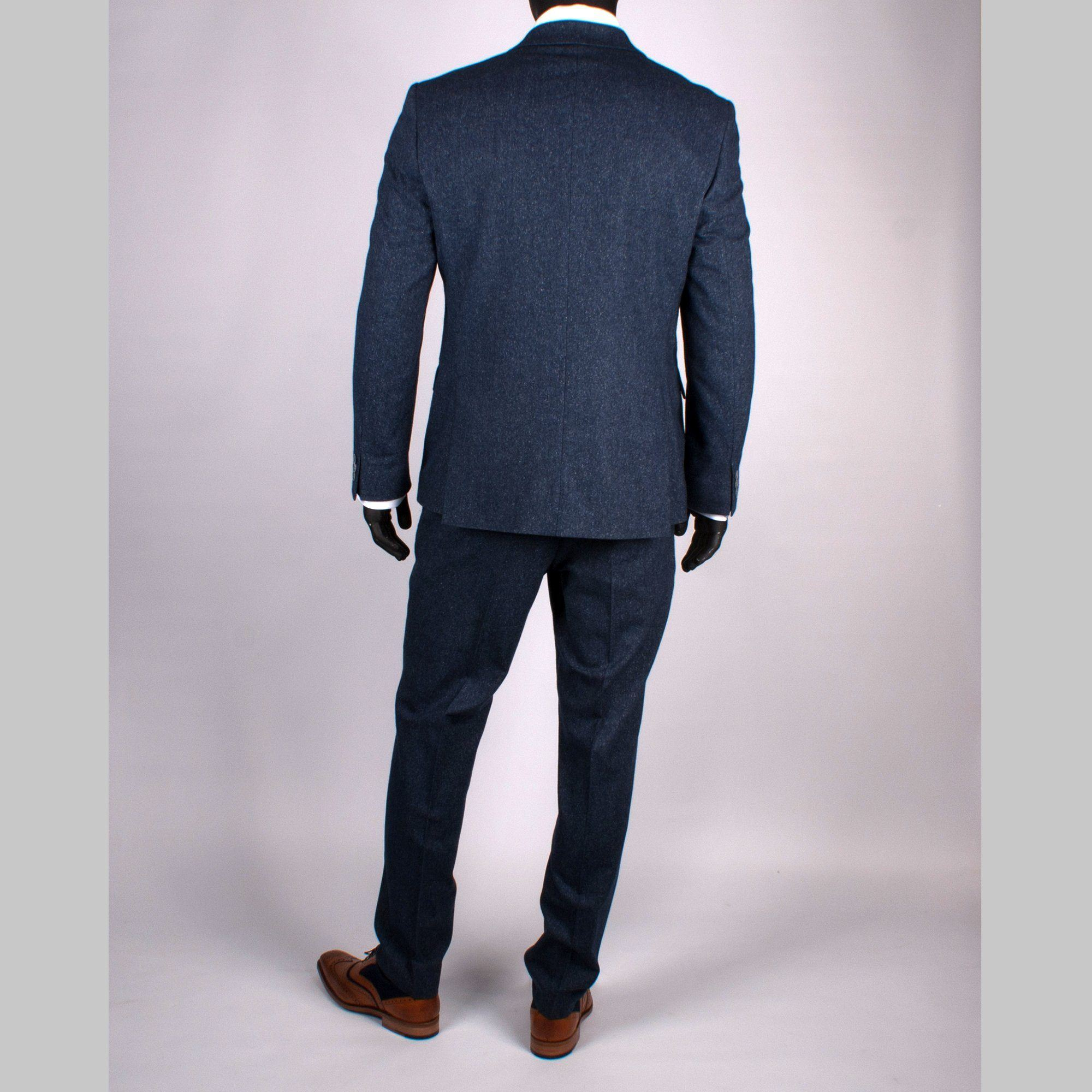 Wool/Silk Tweed Suit Trouser - Leonard Silver