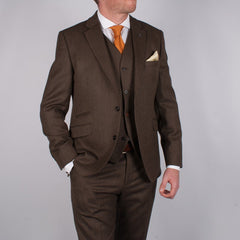 Coffee Herringbone Suit Trousers