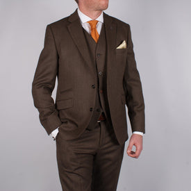 Coffee Herringbone Suit - Leonard Silver