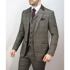 Herringbone Check Suit Brown - Leonard Silver