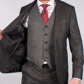 Charcoal Pinstripe Suit - Leonard Silver