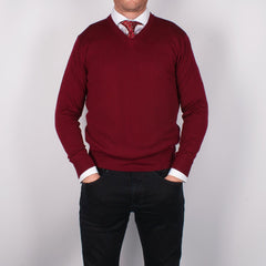 Burgundy Merino V-neck Sweater