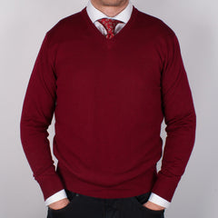 Burgundy Merino V-neck Sweater - Leonard Silver