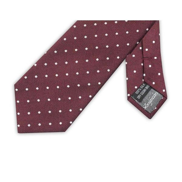 Burgundy Dotted Silk Tie