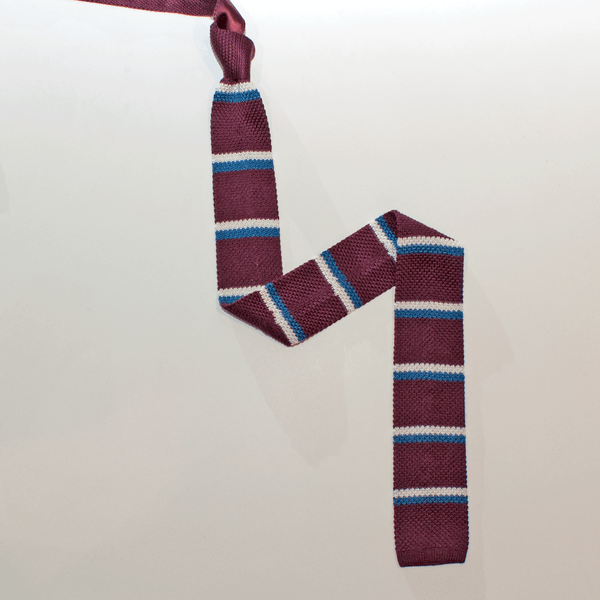 KNIGHTSBRIDGE Knitted Silk Tie Burgundy