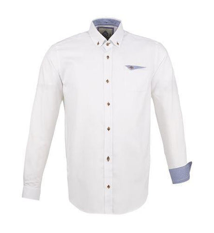 WHITE Long Sleeved Oxford Cotton Shirt