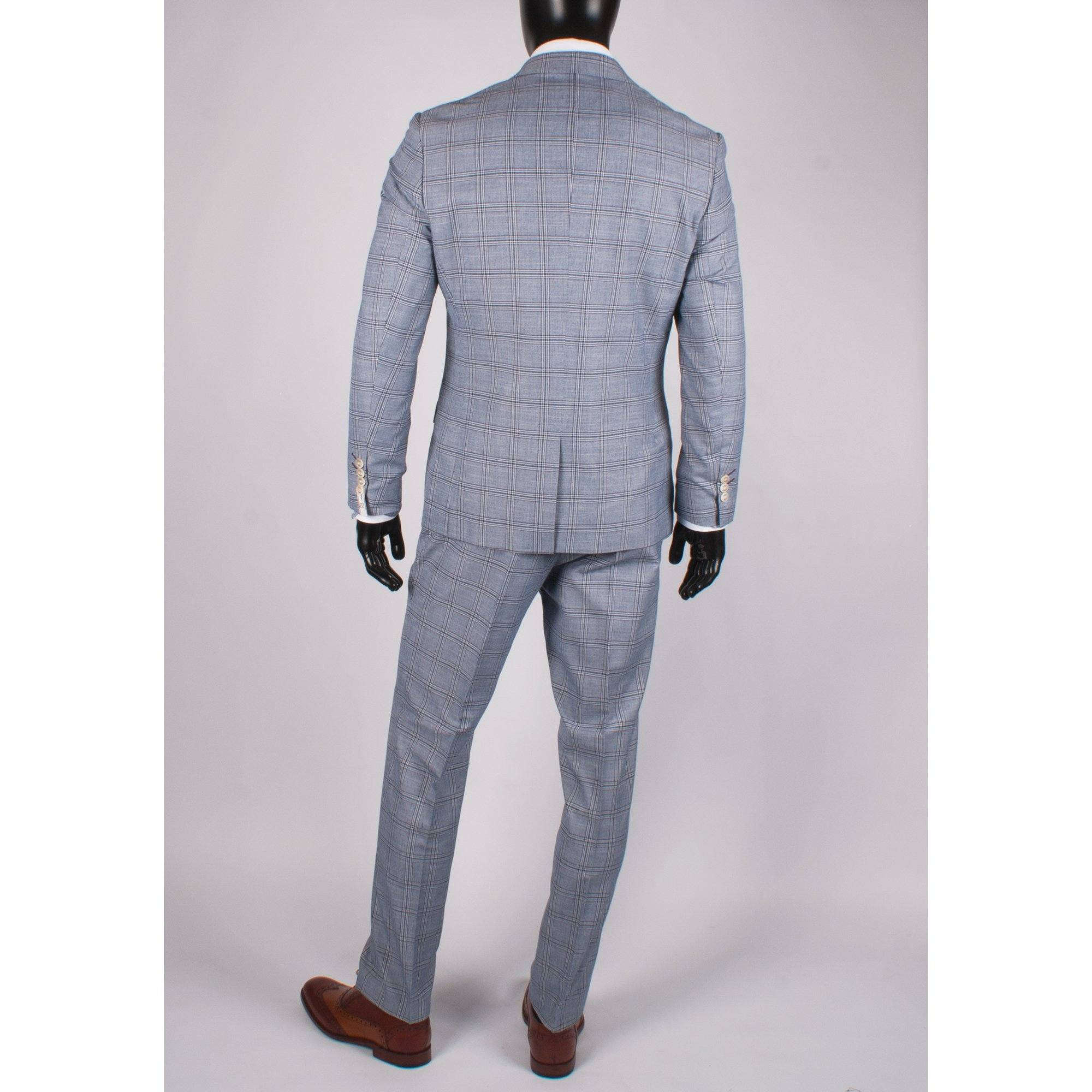Multi Check 3 Piece Suit - Leonard Silver