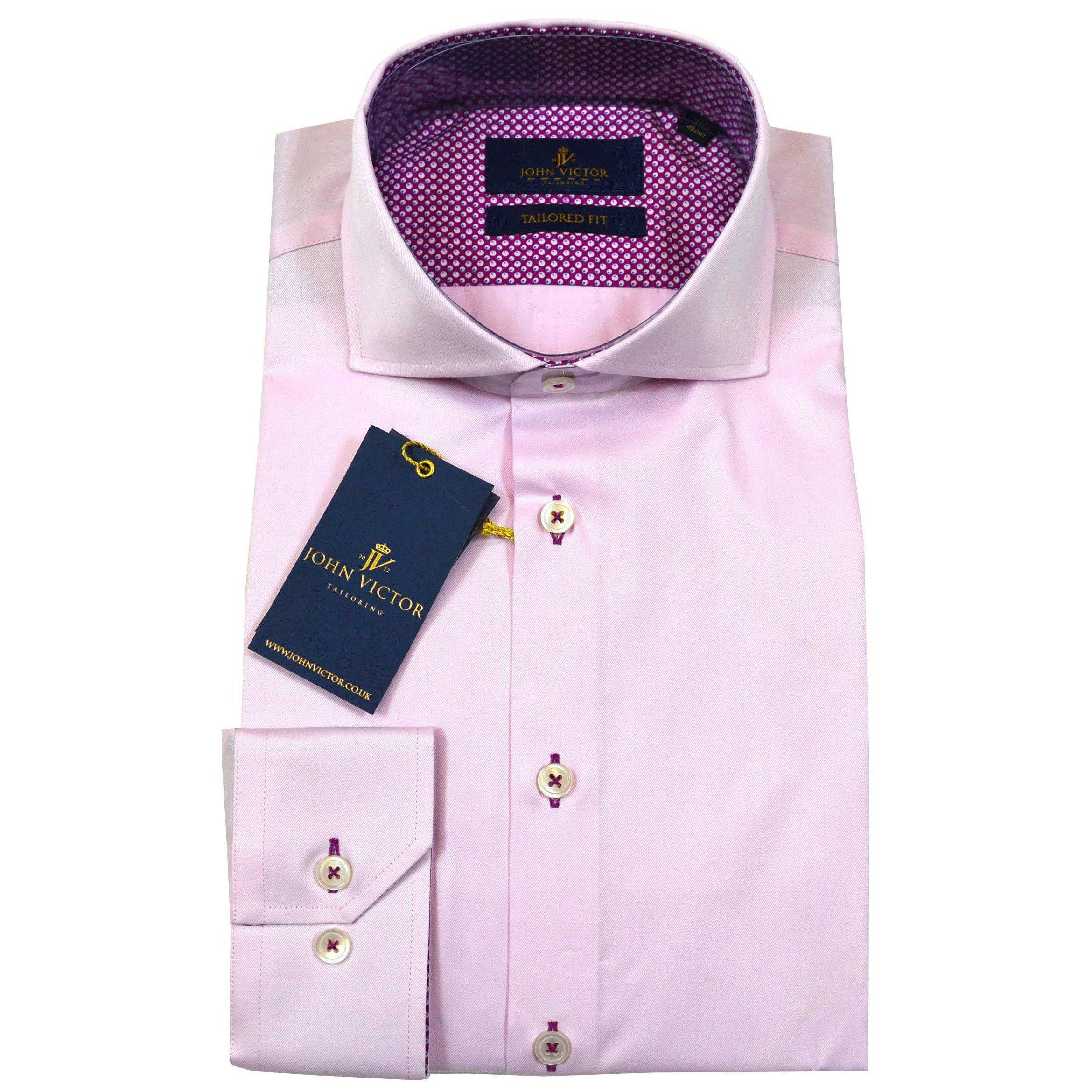 John Victor Tailored Fit Shirt Pink - Leonard Silver