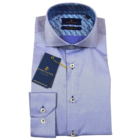John Victor Tailored Fit Shirt Sky Blue - Leonard Silver
