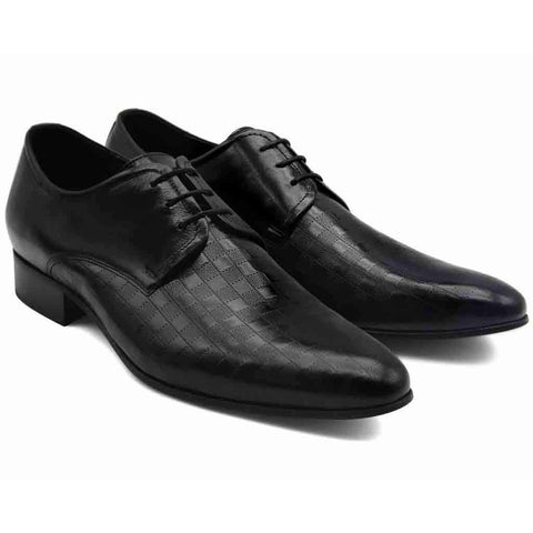 Lacuzzo Black Lace Up Shoe - Leonard Silver