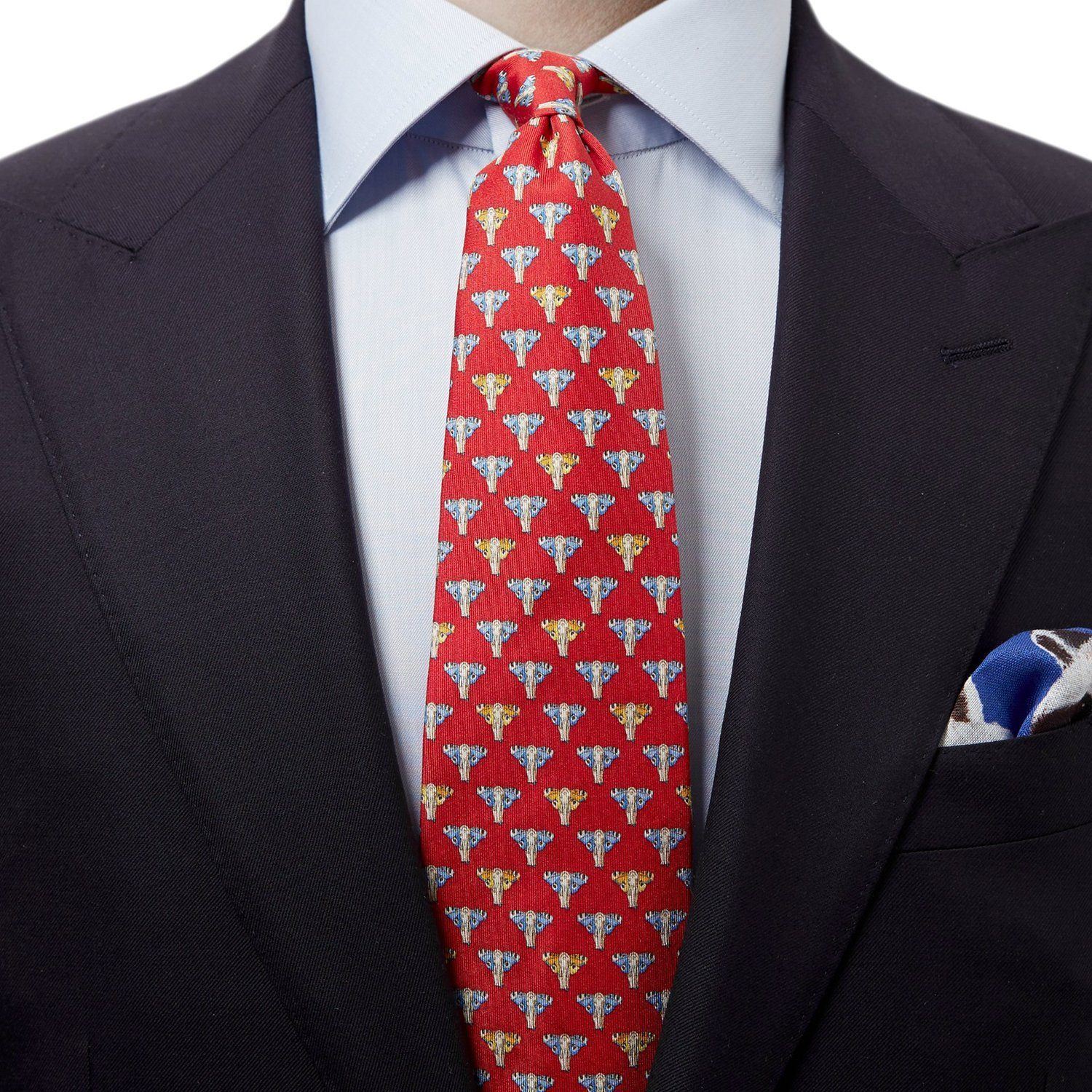 Butterfly Elephant Silk Tie Red