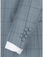 Gibson 3 Button Check Suit Blue - Leonard Silver