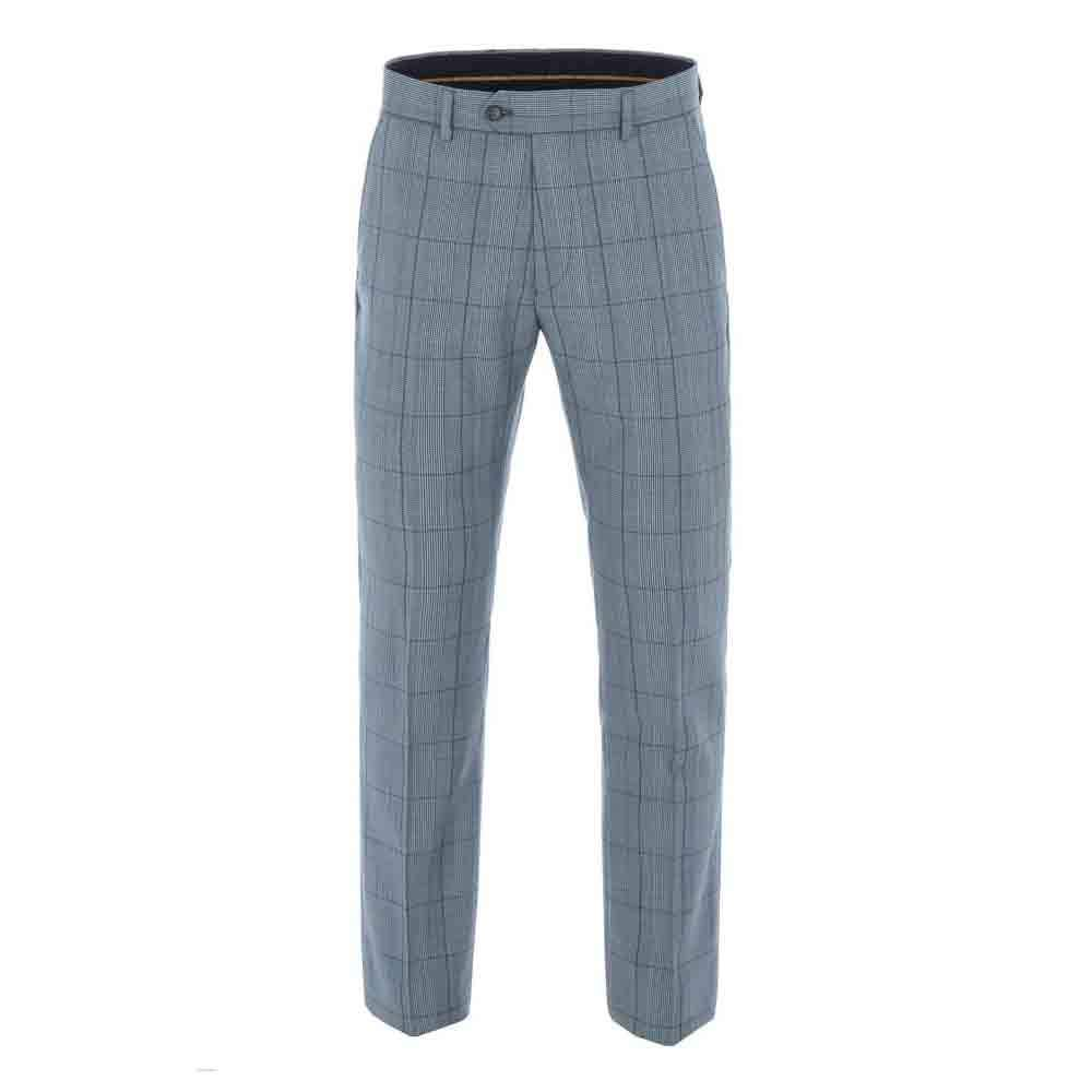 Gibson Blue Check Trousers Order Quality Ready To Wear Suits For Men