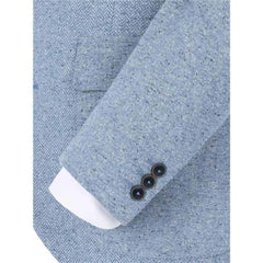 Slim Fit Blue Donegal Tweed Suit - Leonard Silver
