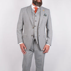 Gingham Check Suit in Grey