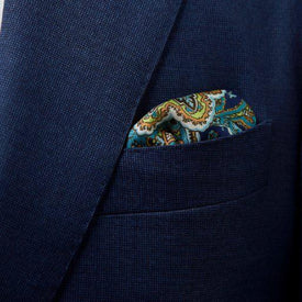 Green Paisley Pocket Square - Leonard Silver