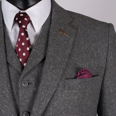 Grey Wool/Silk Tweed Suit - Leonard Silver