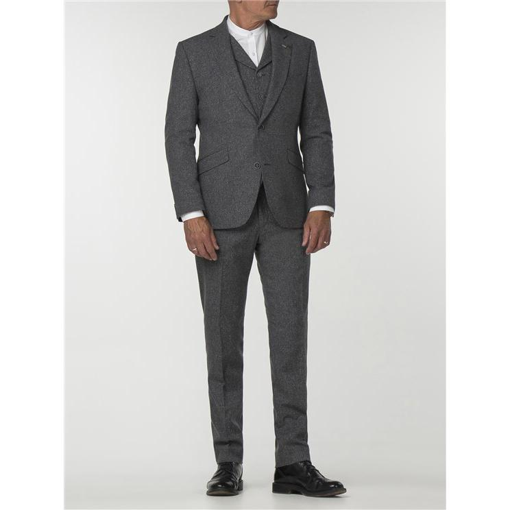 Grey Wool/Silk Tweed Trouser - Leonard Silver