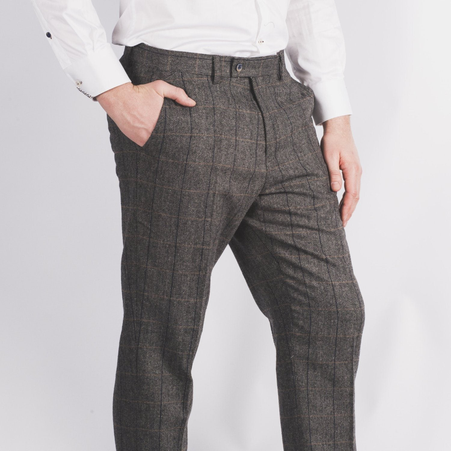 Grey Tweed Trousers - Leonard Silver