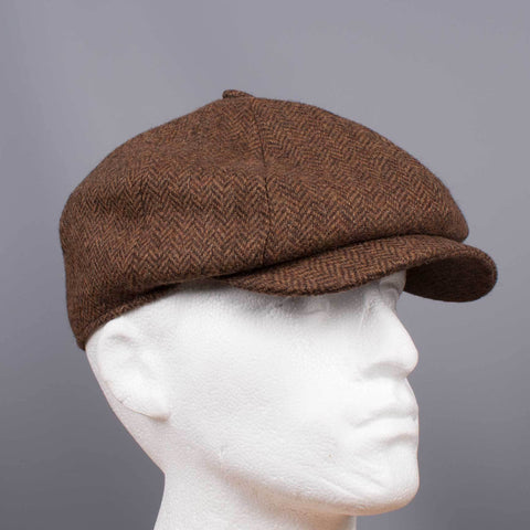 Tweed Herringbone Hat Brown - Leonard Silver