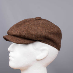Tweed Herringbone Hat Brown