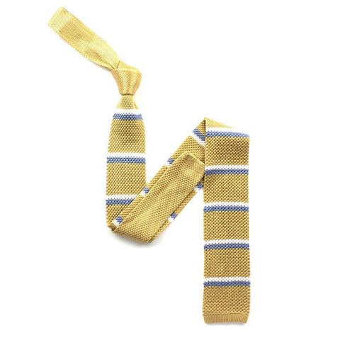 Yellow/blue striped silk knitted tie