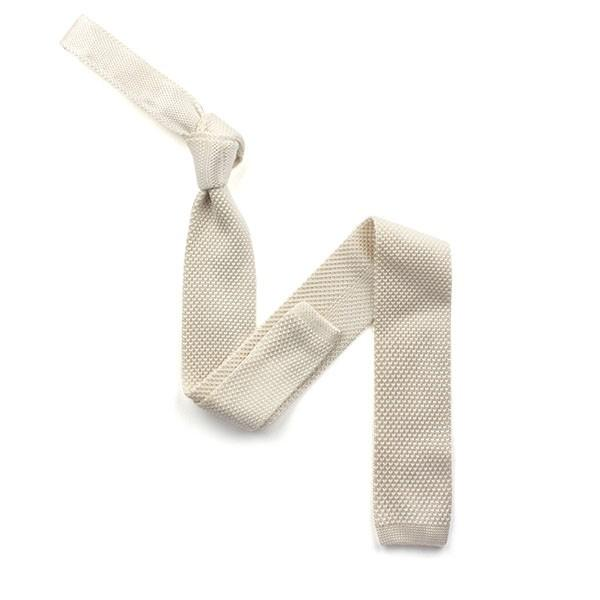 Plain Ivory Knitted Silk Tie