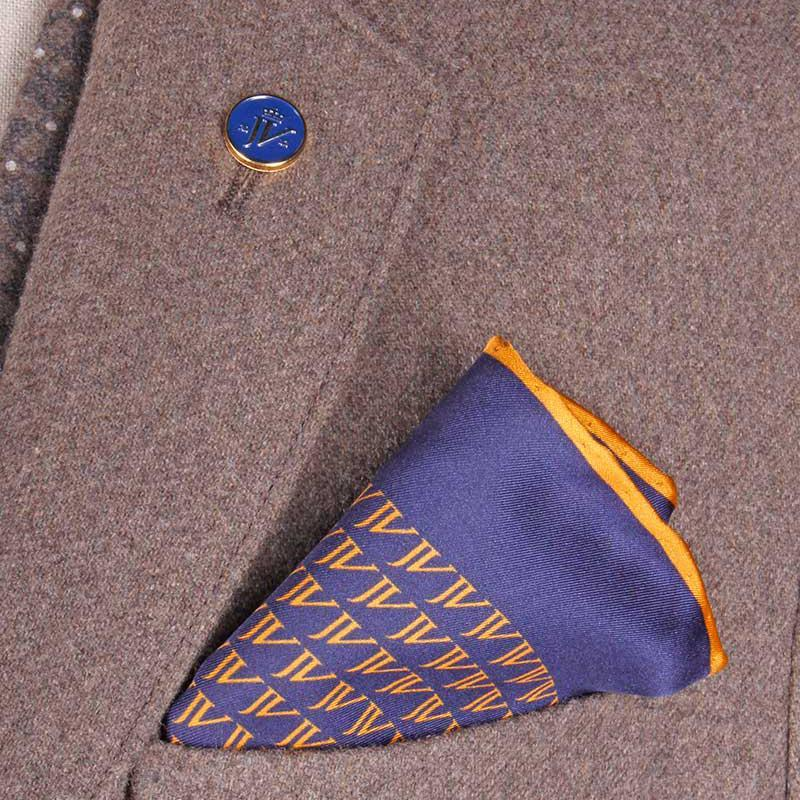 Pocket Square Navy/Gold - Leonard Silver