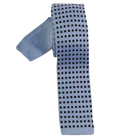 Knitted Silk Neck Tie (Sky/Black) - Leonard Silver
