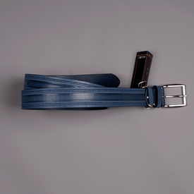 Leather Belt, Blue - Leonard Silver