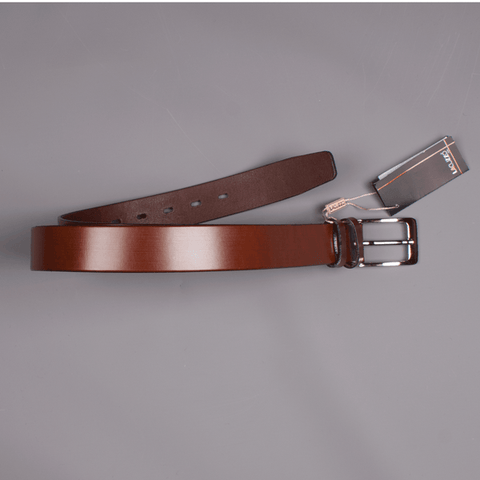 Chestnut Leather Belt - Leonard Silver