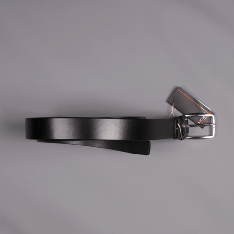 Black Leather Belt - Leonard Silver