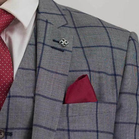 Grey Windowpane Check 3Piece Suit - Leonard Silver
